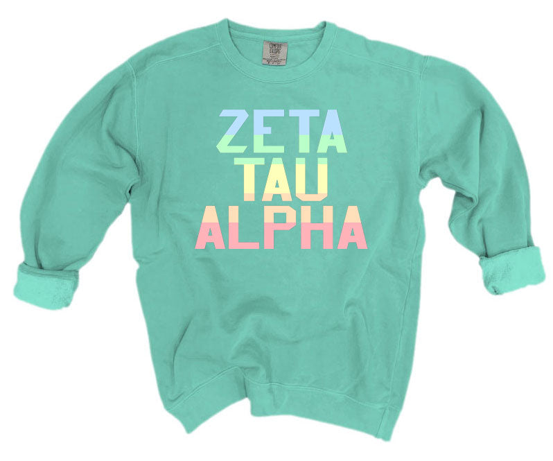 Zeta Tau Alpha Comfort Colors Pastel Sorority Sweatshirt