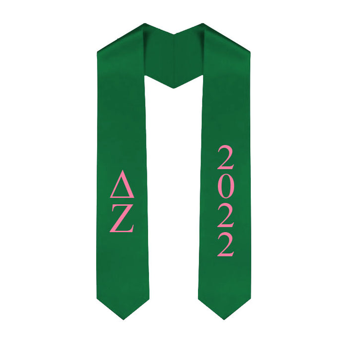 Delta Zeta Vertical Grad Stole with Letters & Year