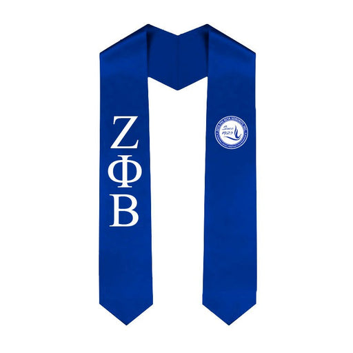 Zeta Phi Beta Lettered Graduation Sash Stole with Crest