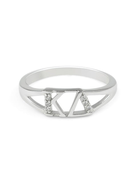 Kappa Delta Sterling Silver Ring with Lab Created Clear Diamond