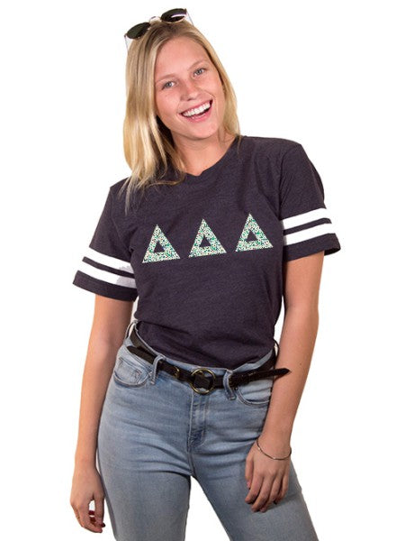 Delta Delta Delta Unisex Jersey Football Tee with Sewn-On Letters