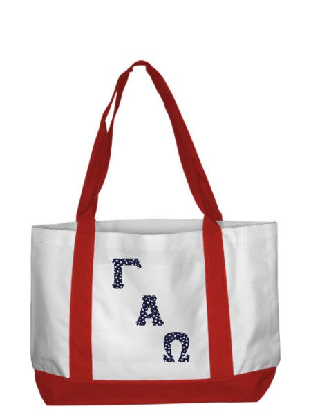 Gamma Alpha Omega 2-Tone Boat Tote with Sewn-On Letters