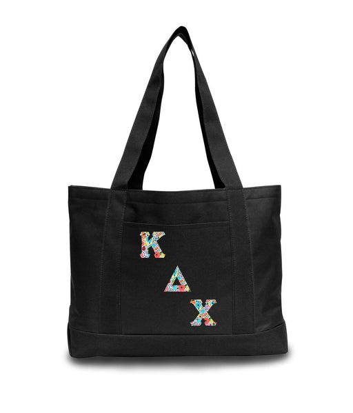 Kappa Delta Chi 2-Tone Boat Tote with Sewn-On Letters