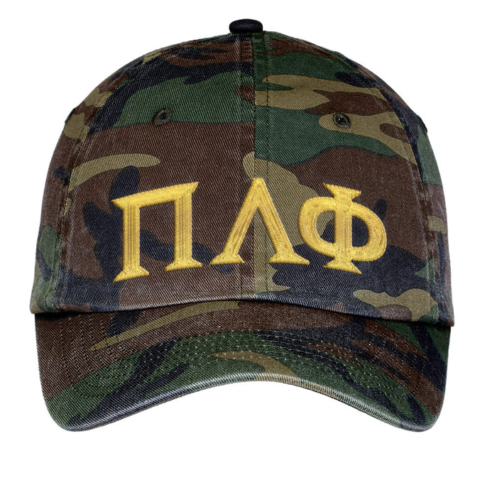 Pi Lambda Phi Letters Embroidered Camouflage Hat