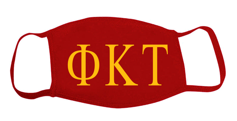 Phi Kappa Tau Face Mask With Big Greek Letters