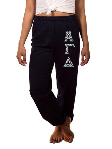 Alpha Gamma Delta Sweatpants with Sewn-On Letters