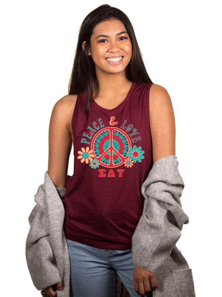 Sigma Delta Tau Peace Sign Flowy Muscle Tank