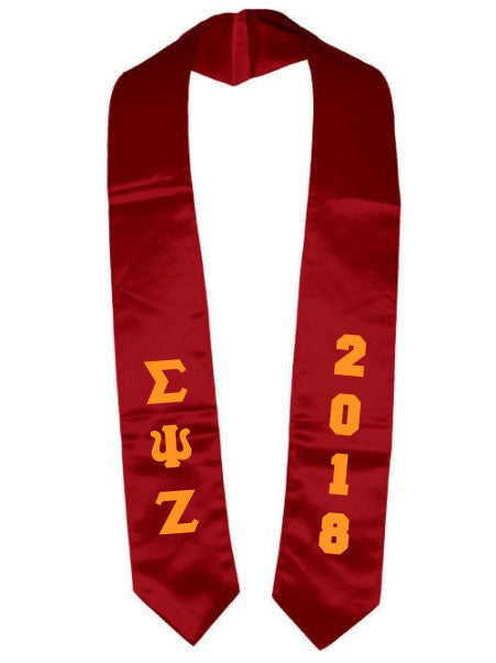 Sigma Psi Zeta Vertical Grad Stole with Letters & Year