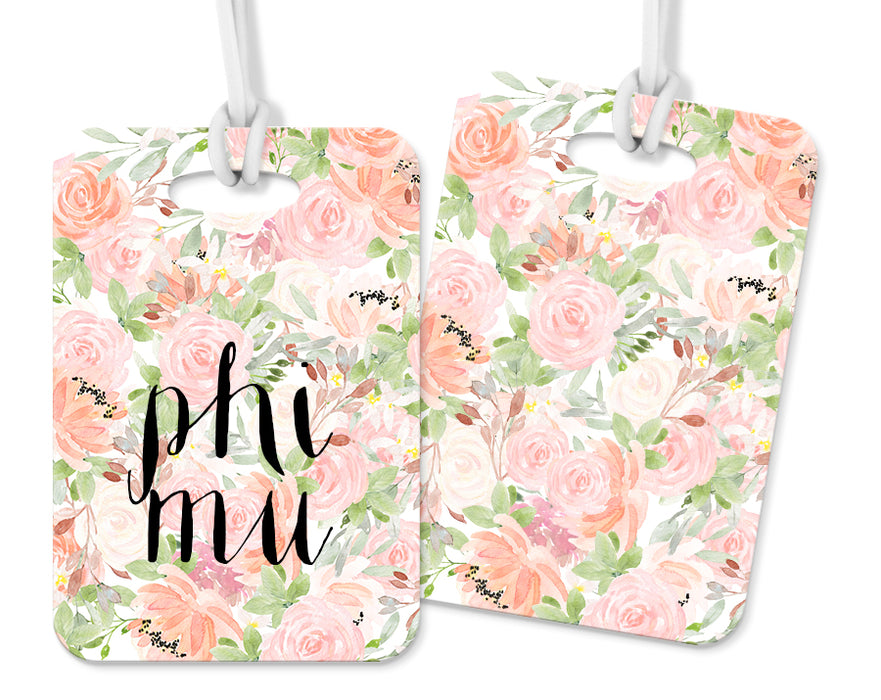 Phi Mu Pink Floral Luggage Tag