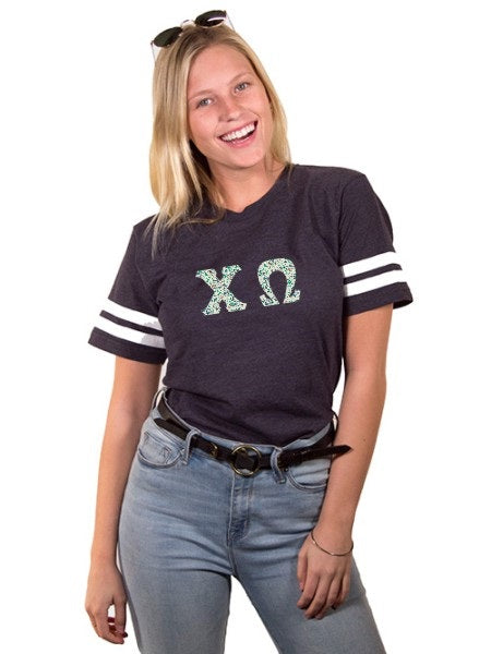 Chi Omega Unisex Jersey Football Tee with Sewn-On Letters
