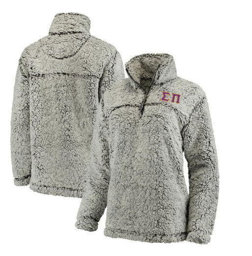 Sigma Pi Embroidered Sherpa Quarter Zip Pullover