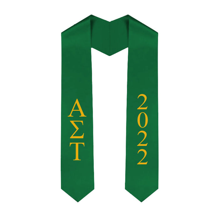 Alpha Sigma Tau Vertical Grad Stole with Letters & Year