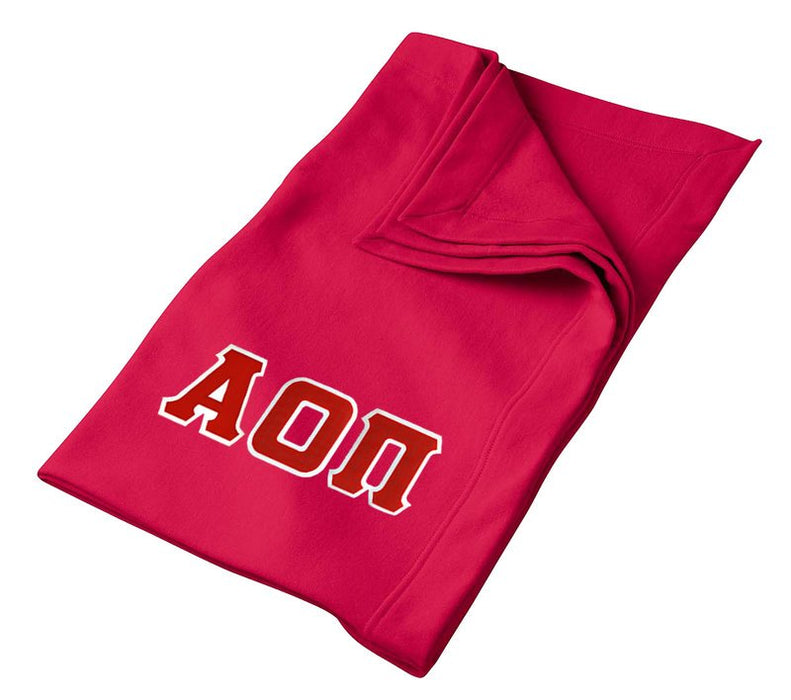 Alpha Omicron Pi Greek Twill Lettered Sweatshirt Blanket
