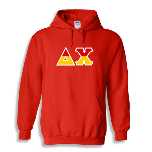 Delta Chi Two Toned Lettered Hooded Sweatshirt
