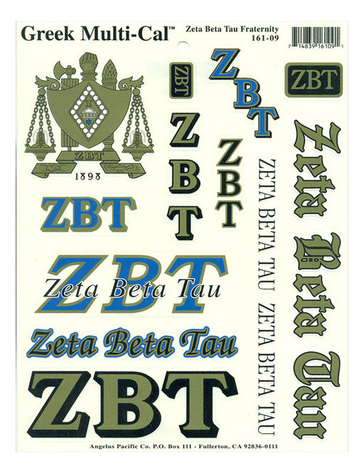 Zeta Beta Tau Multi Greek Decal Sticker Sheet