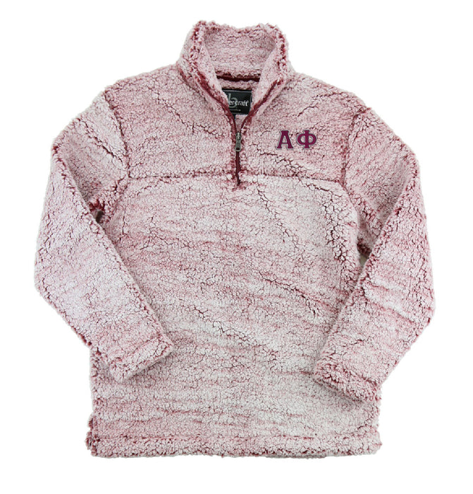 Alpha Phi Embroidered Sherpa Quarter Zip Pullover