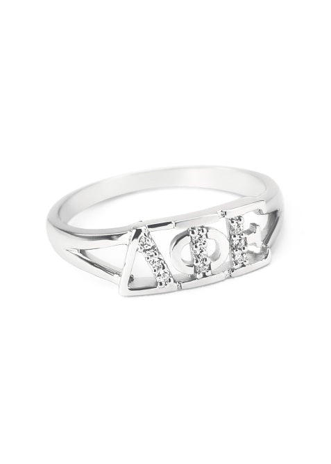 Delta Phi Epsilon Sterling Silver Ring with Lab Created Clear Diamond