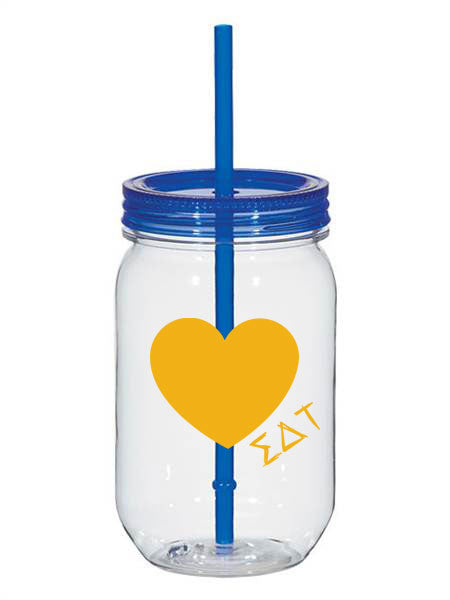 Sigma Detla Tau 25oz Scribbled Heart Mason Jar