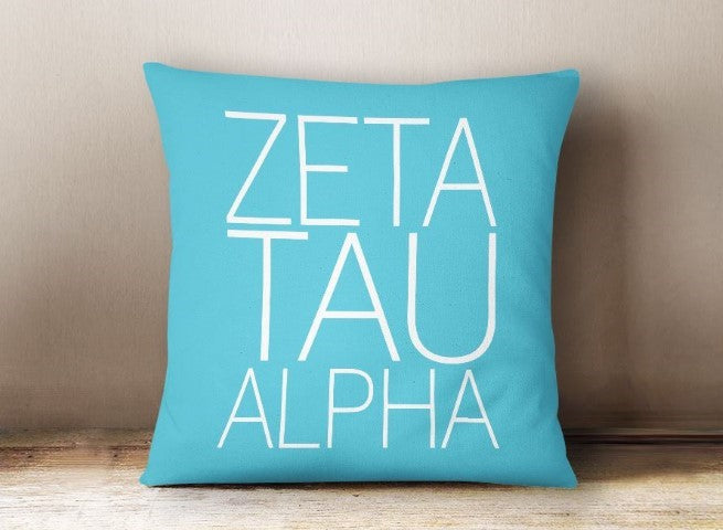 Zeta Tau Alpha Simple Text Throw Pillow