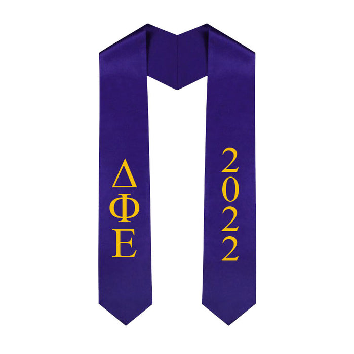 Delta Phi Epsilon Vertical Grad Stole with Letters & Year