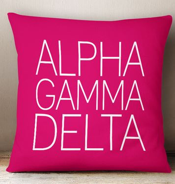 Alpha Gamma Delta Simple Text Throw Pillow