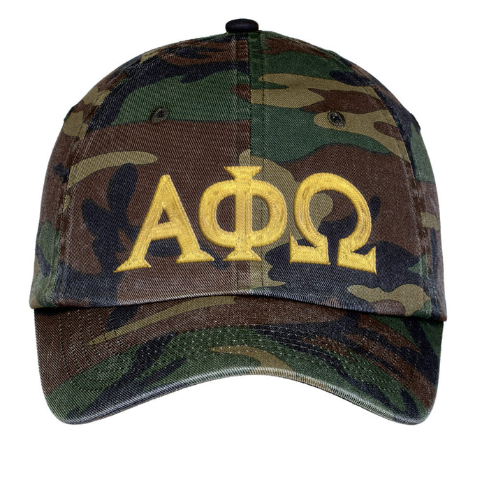 Alpha Phi Omega Letters Embroidered Camouflage Hat