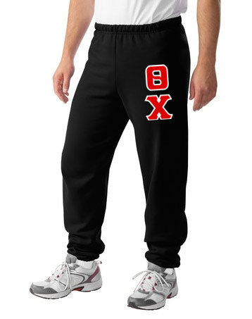Theta Chi Sweatpants with Sewn-On Letters