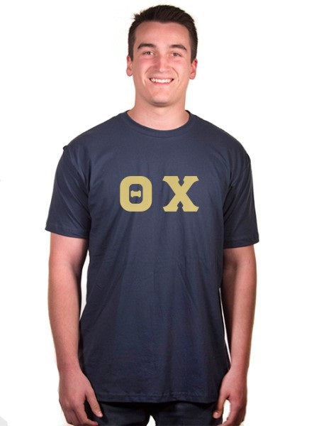 Theta Chi Short Sleeve Crew Shirt with Sewn-On Letters