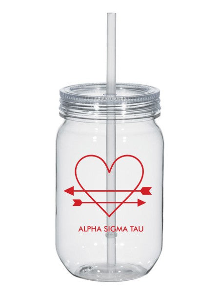 Alpha Sigma Tau Heart Arrows Name 25oz Mason Jar