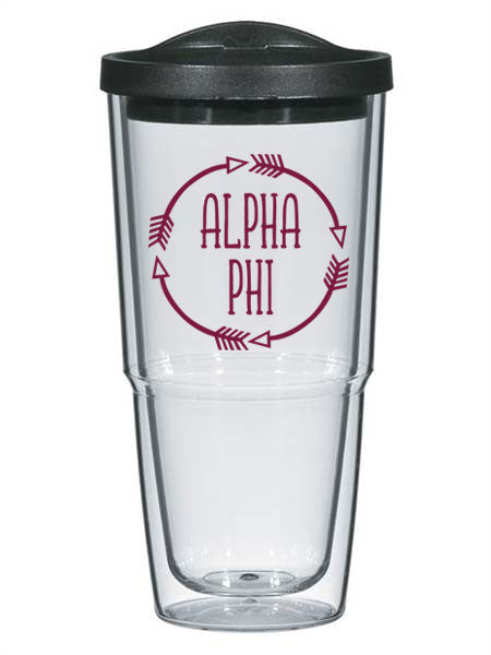 Alpha Phi Circle Arrows 24 oz Tumbler with Lid