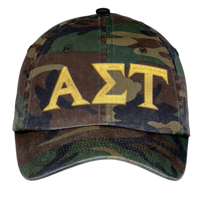 Alpha Sigma Tau Letters Embroidered Camouflage Hat