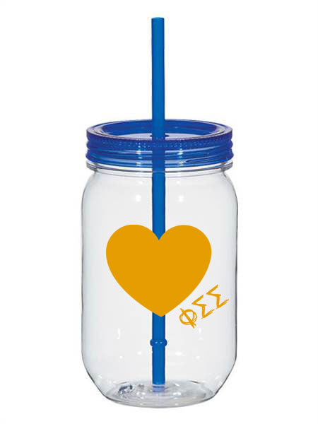 Phi Sigma Sigma 25oz Scribbled Heart Mason Jar