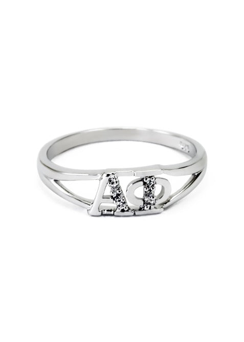 Alpha Phi Sterling Silver Ring with Lab Created Clear Diamond