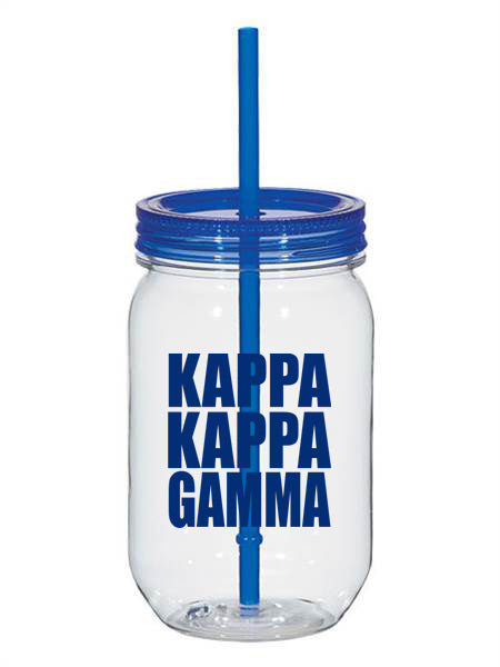 Kappa Kappa Gamma Big Stacked Greek 25oz Mason Jar