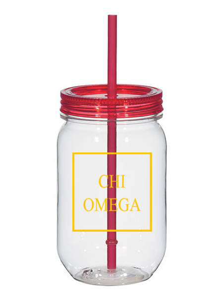 Chi Omega Box Stacked 25oz Mason Jar