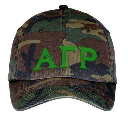 Alpha Gamma Rho Letters Embroidered Camouflage Hat