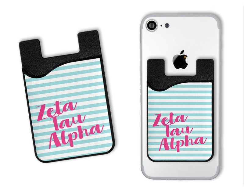 Zeta Tau Alpha Sorority Stripes Caddy Phone Wallet