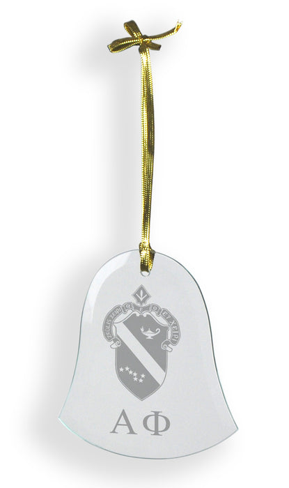 Alpha Phi Glass Bell Ornament