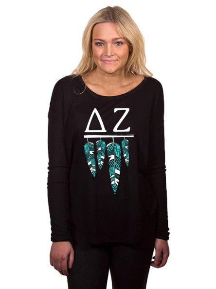 Delta Zeta Tribal Feathers Flowy Long Sleeve Tee