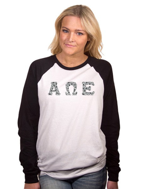 Alpha Omega Epsilon Long Sleeve Baseball Shirt with Sewn-On Letters