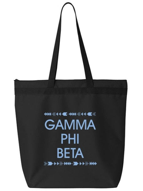 Gamma Phi Beta Arrow Top Bottom Tote Bag