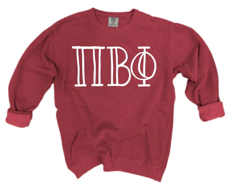 Pi Beta Phi Comfort Colors Greek Letter Sorority Crewneck Sweatshirt