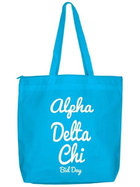 Alpha Delta Chi Zippered Poly Tote