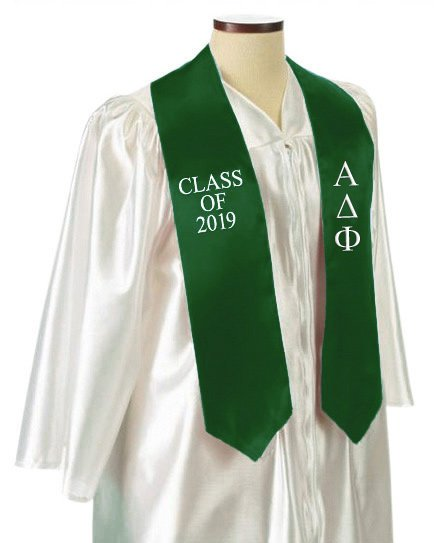 Alpha Delta Phi Classic Colors Embroidered Grad Stole