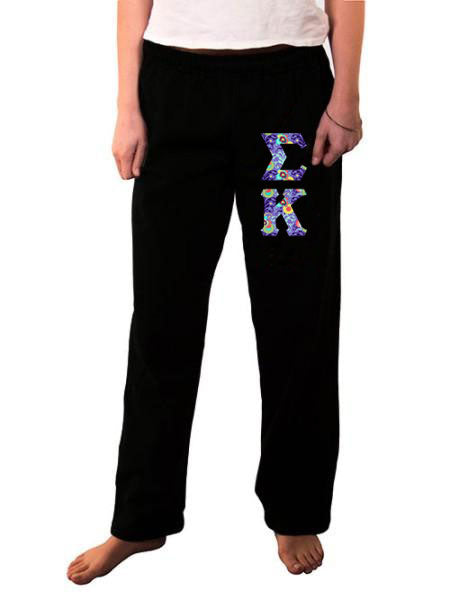 Sigma Kappa Open Bottom Sweatpants with Sewn-On Letters