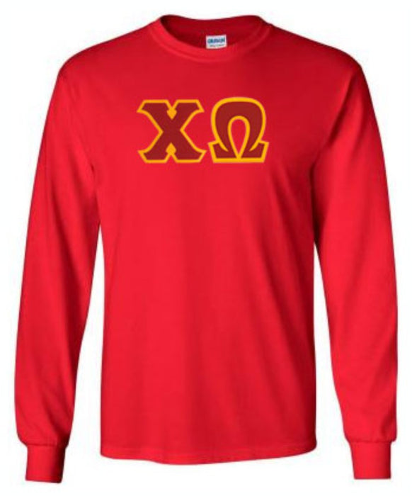 Chi Omega Long Sleeve Greek Lettered Tee