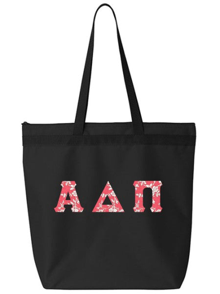 Alpha Delta Pi Large Zippered Tote Bag with Sewn-On Letters