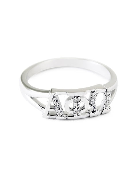 Alpha Phi Omega Sterling Silver Ring with Lab Created Clear Diamond