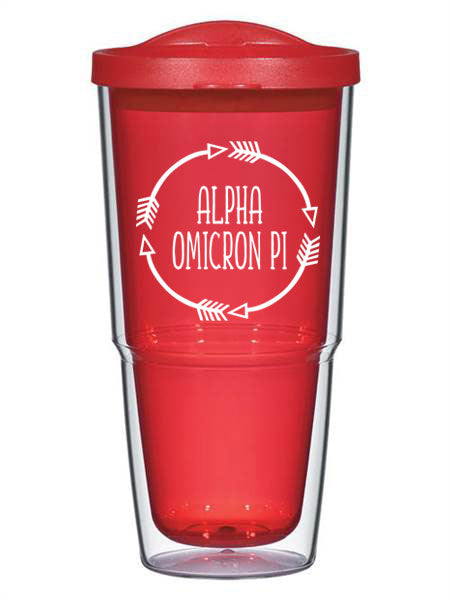 Alpha Omicron Pi Circle Arrows 24 oz Tumbler with Lid