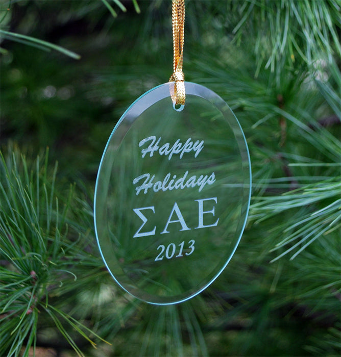 Sigma Alpha Epsilon Engraved Glass Ornament